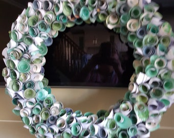 Rolled Rose Wreath (Green)--Gift/Decor