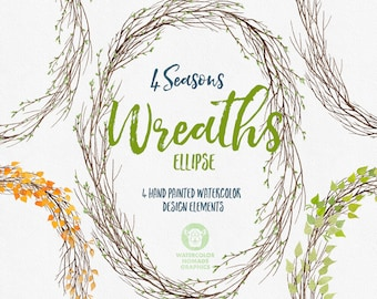 Watercolor wreaths clipart, ellipse spring wreath, oval summer wreath, Fall and winter wreaths, digital illustration, commercial use