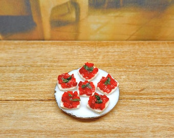 Food for dolls, tomato canapes, 1:12 scale, miniature polmer clay, ceramic plate dollhouse, rustic kitchen roombox, vegan vegetarian, ooak