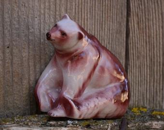 Vintage Porcelain Bear Figurine,Sitting Bear Statue,Porcelain Beer,Vintage Beer,Animal Decor,Beer Home Decor
