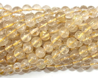 Gold Rutilated Quartz, 6mm Round Beads, 15.5 Inch, Full strand, Approx 66-68 beads, Hole 0.8 mm (396054018)