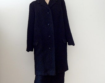 1960s Wool Suit / black boucle jacket and pencil skirt / vintage winter fashion