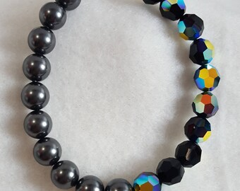 Swarovski 8mm crystal and pearl bracelet