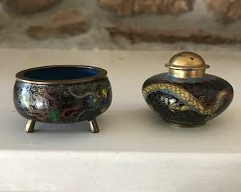 Antique Dragon Cloisonne Open Salt and Pepper Shaker Set
