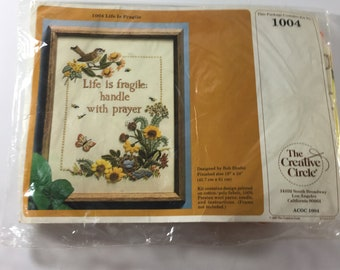 Vintage 1980's Creative Circle 1004 Life is Fragile Handle with Prayer Needlepoint Kit New