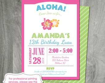Luau Invitation, Hawaiian Party Printable, Luau Birthday, Custom, Personalized, Printing Available, JPEG or PDF Digital file, Diy Printable
