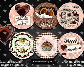 Digital images * chocolate * cupcake candy heart retro round cabochon