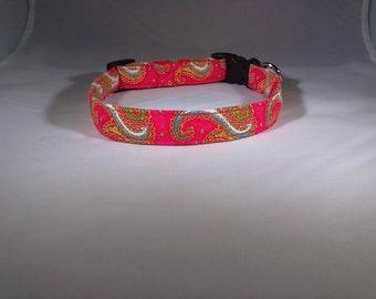 Dog Collar - Red Paisley