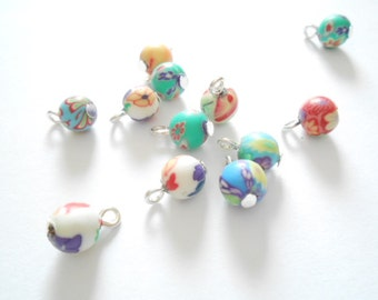 Floral Round Clay Dangle Beads