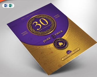 Gold and Violet Anniversary Flyer MS Word and Publisher Template (8.5x11 & 5x7)