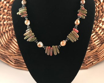 Natural baroque pearl necklace, pyrite, hematite, unakite,gift for women, free shipping