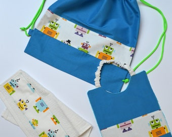 Robot nursery set blue