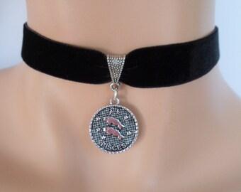 velvet choker, pisces choker, pisces necklace, stretch ribbon, black velvet, star sign, zodiac charm