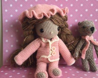 Cute crochet doll with pyjamas and bears