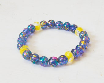 Acrylic Confetti Stretch Bracelet with Yellow Glass Beads - Blue and Pink