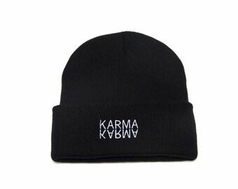 Karma Beanie, Karma Hat, Karma, Yoga Gifts, Embroidered Beanie, Beanies with Words