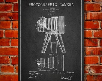 1885 Photographic Camera Patent, Canvas Print, Wall Art, Home Decor, Gift Idea