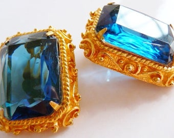 vintage Onik Sahakian clip earrings | blue green cobalt | vintage jewelry | rare collectible | gift for her | mentor Dali | surrealism