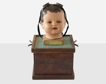 bill vollers 'baby head' box, bill vollers sculpture, folk art sculpture, folk art assemblage, outsider art sculpture, folk art box, art