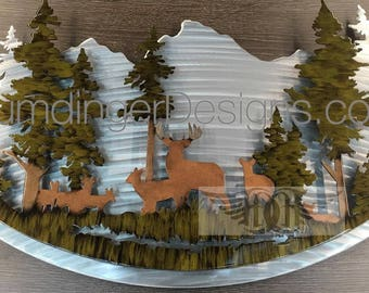 Deer Metal Art Wall Decor Cabin Art Hunting Art Nature Decor Woodland