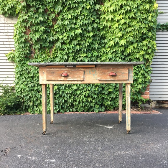 Zinc Top Kitchen Work Table, Antique Work Table, Metal Top Bakery Table, Chippy Desk Table