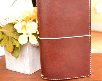 "Regular Mahogany Executive Leather Travelers Notebook Cover, 11"" x 8.5"" Flat Full Grain Leather, TN, leather, handmade midori style"