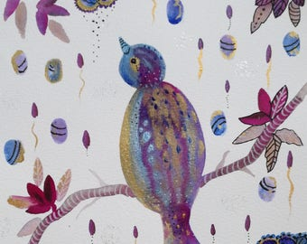 Watercolor bird, little dreamer