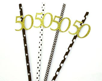 50th birthday straws- Gold and Black
