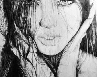 A4 print of my drawing of adriana lima