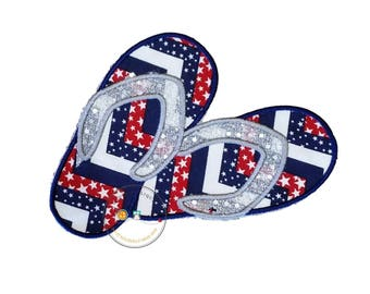 Patriotic flip flop with silver sequence iron on applique
