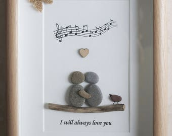Pebble Art framed Picture- Couple- I will always love you
