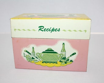 Vintage Metal Recipe Box Kitchen File Box Pink Yellow Green