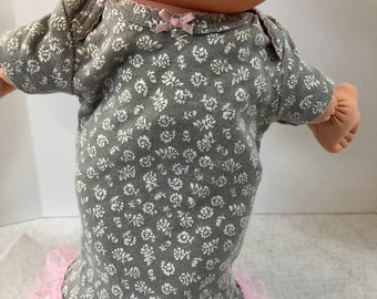 "Cabbage Patch NEWBORN 12 inch Doll Clothes, Pretty Pink and Gray with ""Tiny White FLOWERS"" Nightgown, 12 inch Newborn Doll Clothes Nightgown"