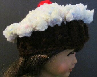 """Crochet Cupcake Hat ~ Fits 18"""" doll ~ Yellow top with pink, blue and purple sprinkles with a dark brown bottom"""