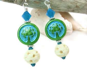 Tree of Life Earrings, Nature Inspired Jewelry, Green Blue Dangles, Czech Glass, Carved Indian Beads, Turquoise Crystals, Bohemian Jewelry