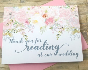 Wedding Reader Card - Gift for Reading at our Wedding - Thank you for Reading at our Wedding - Wedding Thank You Cards - GARDEN ROMANCE