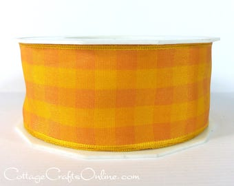 "Wired Ribbon, 1 1/2"" wide, Orange and Yellow Gingham Check - THREE YARDS -  ""Karo Yellow""  Plaid Fall, Halloween Wire Edged Ribbon"