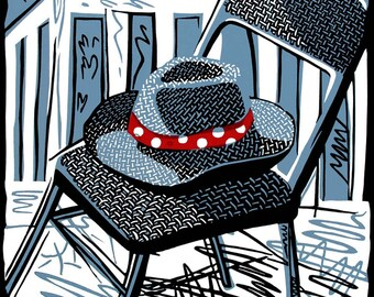 HAT with a RED BAND linocut