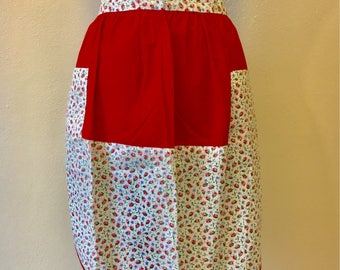 Vintage Half Apron Red And White Floral 1950s Hostess