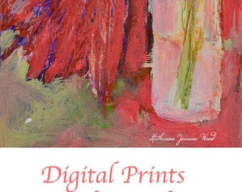 Red Still Life Flower Painting Print. Floral Art Digital Prints. Mother's Day Art Print Gift for Her. 113