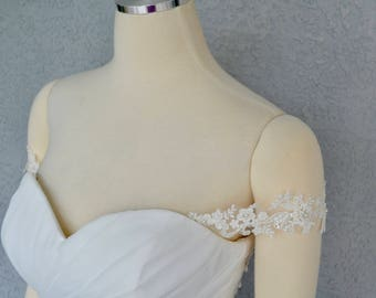 Detachable On or Off the Shoulder Beaded Lace Straps  to Add to your Wedding Dress it Can be Customize