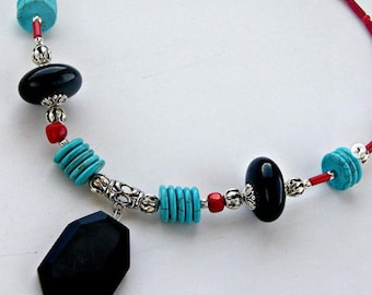 Onyx, coral&turquoise necklace