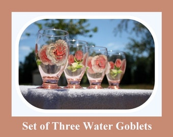 Set 3 Water Goblets, 9oz glass, hand painted glass, Juice glasses, Peach tinted glass, hand painted roses, hand painted flowers, Item #PWG3