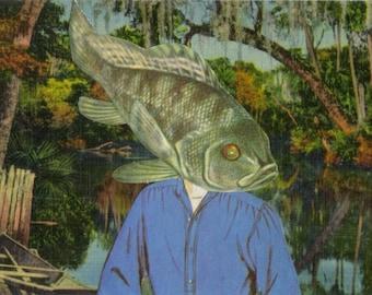 Original Art Collage, Weird Fish Gift for Dude, Swamp Creature Artwork, Odd Postcard