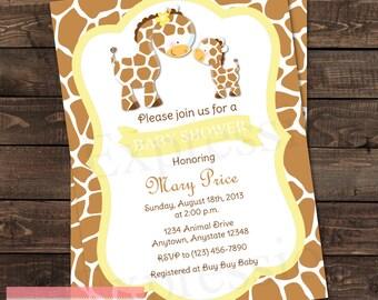 Mommy and Baby Giraffe Neutral Yellow Baby Shower invitation