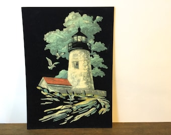 Vintage Paint-By-Number on Velvet Sea Scape Lighthouse painting ~Nautical art
