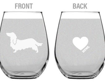 Long-Haired Dachshund Stemless Wine Glass Set  | Birthday Gift for Dog Lover | Housewarming Present | Wine Drinker Gift