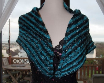 Handknitted Sequinned Shawl/Shawlette in Shades Blue and Black