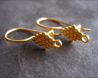 Diamond Dot French Ear Wires with safety hook in vermeil (gold over sterling silver)