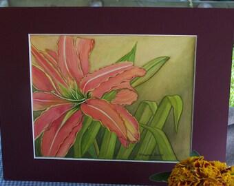"Watercolour original ""Red Lilies"""